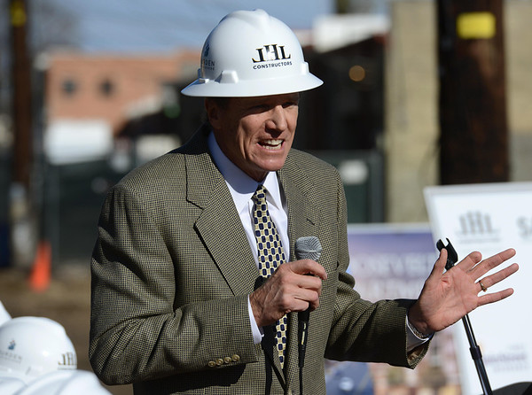 """Developer Cotton Burden speaks during the groundbreaking ceremony for the Roosevelt Park Apartments Tuesday morning Nov. 13, 2012. TO VIEW A VIDEO AND SLIDESHOW VISIT  <a href=""""http://WWW.TIMESCALL.COM"""">http://WWW.TIMESCALL.COM</a> (Lewis Geyer/Times-Call)"""