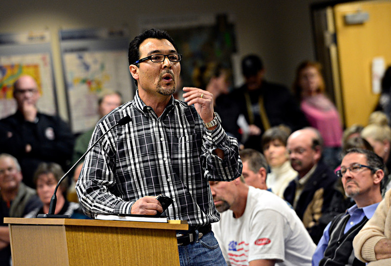 Robert McDaniel discusses the Second Amendment Firearms Experience gun training center -- planned for 900 acres near Colo. Highway 66 and Weld County Road 17 -- during the Firestone planning commission meeting in Firestone on Tuesday, Feb. 12, 2013. <br /> (Greg Lindstrom/Times-Call)