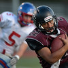 Silver Creek High School's Josh Quiroz (No. 22) runs in for a touchdown against Centaurus High School during the first quarter, Friday, Sept. 7, 2012, at Everly-Montgomery Field in Longmont.<br /> (Matthew Jonas/Times-Call)