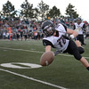 Silver Creek High School's Michael Simboski (No. 10) nearly intercepts a pass intended for Conifer High School during the first quarter, Saturday, Nov. 24, 2012, at Trailblazer Stadium in Lakewood.<br /> (Matthew Jonas/Times-Call)