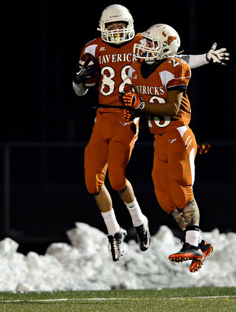 "Mead's Alex Mead (88) and Logan Anderson (23) celebrate a Maverick touchdown during the game at Mead High School on Friday, Oct. 26, 2012.  Silver Creek beat Mead 35-6.  For more photos visit  <a href=""http://www.BoCoPreps.com"">http://www.BoCoPreps.com</a>.<br /> (Greg Lindstrom/Times-Call)"