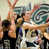"""D'Evelyn's Laura Tyree weaves through the Silver Creek defense during the game at D'Evelyn High School on Saturday, March 2, 2013. Silver Creek lost to D'Evelyn 70-51. For more photos visit  <a href=""""http://www.BoCoPreps.com"""">http://www.BoCoPreps.com</a>.<br /> (Greg Lindstrom/Times-Call)"""