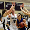 """Longmont's Sydney Wetterstrom, center, is pressured by Silver Creek defenders during the game at Silver Creek High School on Tuesday, Jan. 29, 2013. Silver Creek beat Longmont 62-45. For more photos visit  <a href=""""http://www.BoCoPreps.com"""">http://www.BoCoPreps.com</a>.<br /> (Greg Lindstrom/Times-Call)"""