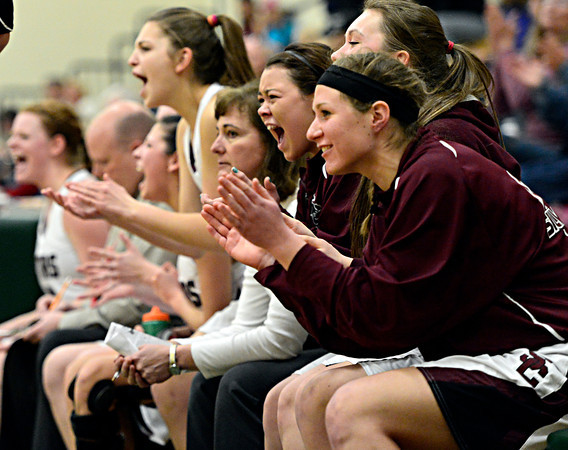 "Silver Creek's bench cheers during the game at D'Evelyn High School on Friday, March 1, 2013. Silver Creek beat Valor Christian 65-48. For more photos visit  <a href=""http://www.BoCoPreps.com"">http://www.BoCoPreps.com</a>.<br /> (Greg Lindstrom/Times-Call)"