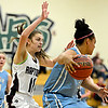 "Silver Creek's Taylor Strub (11) pressures Valor Christian's Maleeah Williams (24) during the game at D'Evelyn High School on Friday, March 1, 2013. Silver Creek beat Valor Christian 65-48. For more photos visit  <a href=""http://www.BoCoPreps.com"">http://www.BoCoPreps.com</a>.<br /> (Greg Lindstrom/Times-Call)"