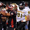 """Skyline's Seth Thomas (17) pulls in a catch over Thompson Valley's Sam Baca (81) during the first half.  Skyline faces Thompson Valley during the varsity football game at Everly-Montgomery Field on Thursday, Sept. 6, 2012.  For more photos visit  <a href=""""http://www.TimesCall.com"""">http://www.TimesCall.com</a>.<br /> (Greg Lindstrom/Times-Call)"""