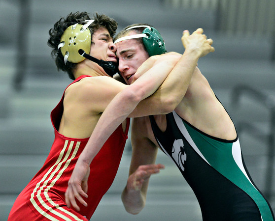 "Skyline's Tristan Klingberg, left, and Niwot's Morgan Schoep compete during the match at Niwot High School on Wednesday, Jan. 9, 2013. For more photos visit  <a href=""http://www.BoCoPreps.com"">http://www.BoCoPreps.com</a>.<br /> (Greg Lindstrom/Times-Call)"
