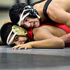 """Niwot's Matthew Strope, top, gets position on Skyline's Jesus Contreras during the match at Niwot High School on Wednesday, Jan. 9, 2013. For more photos visit  <a href=""""http://www.BoCoPreps.com"""">http://www.BoCoPreps.com</a>.<br /> (Greg Lindstrom/Times-Call)"""