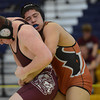 Berthoud's Clay Smith tries to break free from Mead's Gabe Alvarado in their 170 pound match during the Tri Valley League wrestling tournament Saturday Feb. 02, 2013 at Frederick High School. (Lewis Geyer/Times-Call)