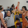 Mead's Jorge Cortez is shown as the winner against Berthoud's Nate Ryken in their 220 pound match during the Tri Valley League wrestling tournament Saturday Feb. 02, 2013 at Frederick High School. (Lewis Geyer/Times-Call)