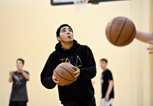 """Alex Heredia looks to shoot during basketball practice at Twin Peaks Charter Academy on Friday, Jan. 4, 2013. For more photos visit  <a href=""""http://www.BoCoPreps.com"""">http://www.BoCoPreps.com</a>.<br /> (Greg Lindstrom/Times-Call)"""