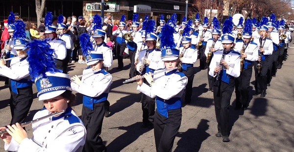 The Lyons High School Marching Band in the Veterans Day Parade in Longmont on Friday, Nov. 11, 2011. (Richard M. Hackett/Times-Call)