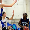 """Longmont defenders, including Anna Schell, left, converge on Vista PEAK's Aaliyah Carter (24) during the game at Longmont High School on Tuesday, Feb. 26, 2013. Longmont beat Vista PEAK 65-18. For more photos visit  <a href=""""http://www.BoCoPreps.com"""">http://www.BoCoPreps.com</a>.<br /> (Greg Lindstrom/Times-Call)"""