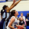 """Longmont's Dailyn Johnson, right, looks to shoot as Vista PEAK's Jaylynn Johnson defends during the game at Longmont High School on Tuesday, Feb. 26, 2013. Longmont beat Vista PEAK 65-18. For more photos visit  <a href=""""http://www.BoCoPreps.com"""">http://www.BoCoPreps.com</a>.<br /> (Greg Lindstrom/Times-Call)"""