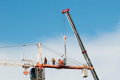 Construction crane removal. Update ed302 . Gosford. April 9, 2019.