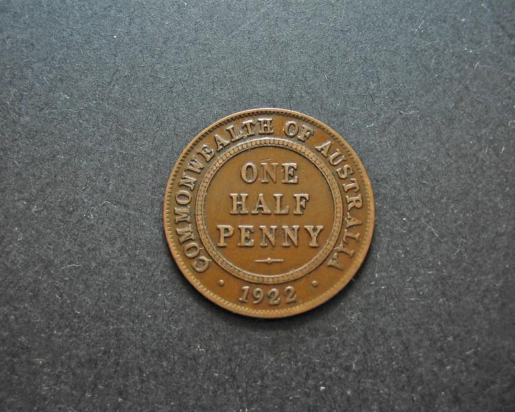 One Half Penny Vintage Australian Coin. Reverse.