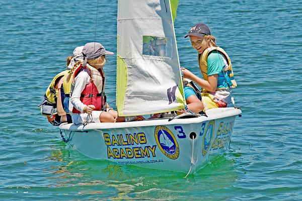 Children having fun sailing.