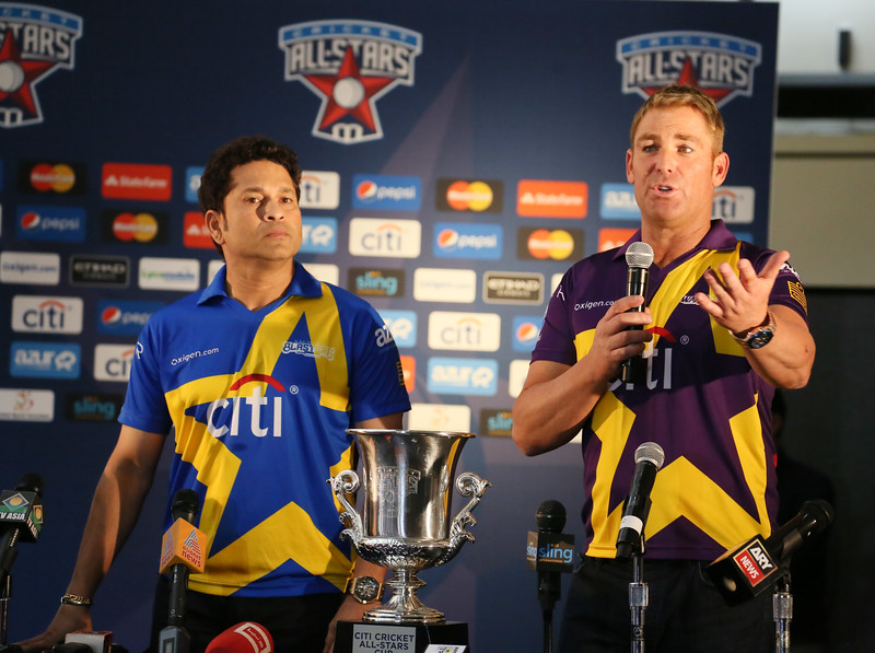 Sachin Tandulkar and Shane Warne speaking at a press conference of All Stars Cricket match to be held in New York on 7th 2015...pic Mohammed Jaffer-SnapsIndia