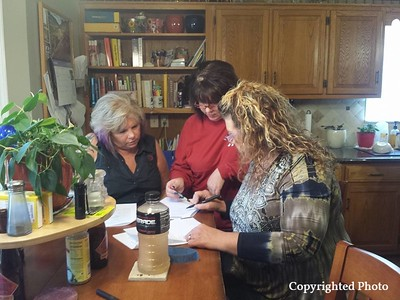 Team work! — with Kelly Kimari, Vicky Vail and Deborah Bishop Wilder.