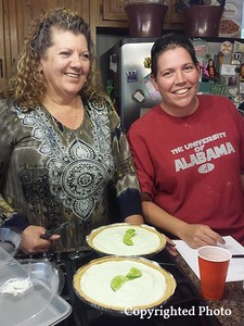 Debbie made her signature Key lime pies...from scratch, of course. Yum! — with Deborah Bishop Wilder and Belinda Longnion Kock.