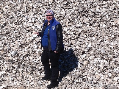 Donna Thompson (PJ) with oyster shells