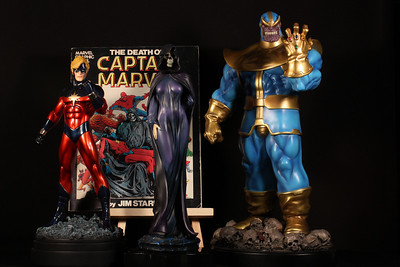 Bowen Designs Captain Marvel, Thanos, and Mistress Death Statues