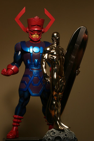 Bowen Designs Galactus and Silver Surfer Chrome Museum Statues