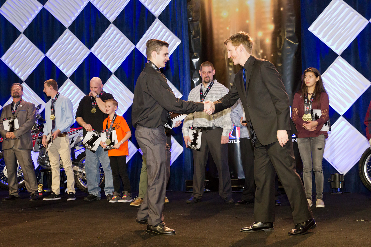 The American Motorcyclist Association recognized its greatest champions and hardest-working organizers from the 2016 season on Jan. 21 during the AMA Championship Banquet at the Hilton Downtown Columbus in Columbus, Ohio.   More than 500 racers and supporters watched as the AMA presented awards to the top three finishers in national and regional competition, and announced the winners of the prestigious AMA Racer of the Year Awards.   Photo by Jeff Guciardo/AMA