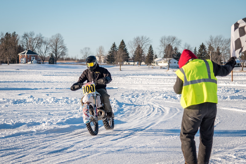 """2019 Ice Race National Championship, Jan. 20, 2019, Kettle Moraine Lake - Campbellsport, Wis. in conjunction with the Steel Shoe Fund 3-Hour Motorcycle Endurance Ice Event. Photo by <a href=""""http://2ndaryhwy.smugmug.com"""" target=""""_blank"""">Jen Muecke</a> for the American Motorcyclist Association."""