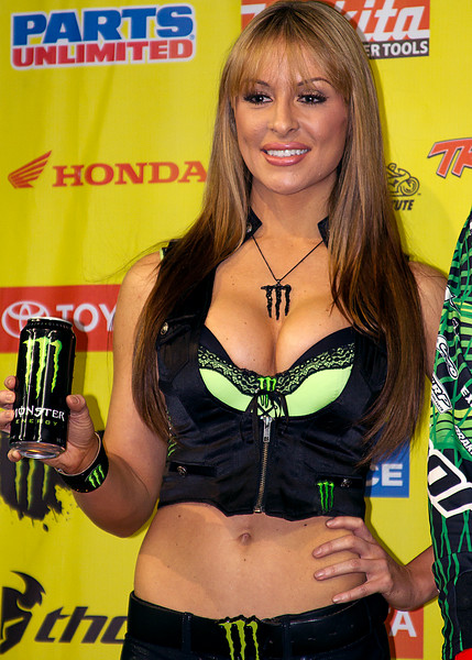 Monster Energy Drink Girl Atlanta AMA Supercross Georgia Dome winner's podium