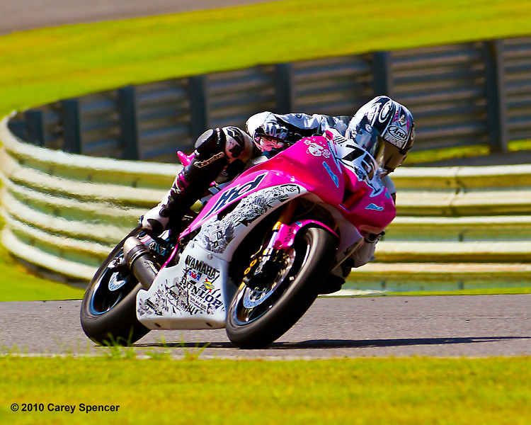 AMA Pro Huntley Nash all alone on his LTD Racing SuperSport motorcycle.