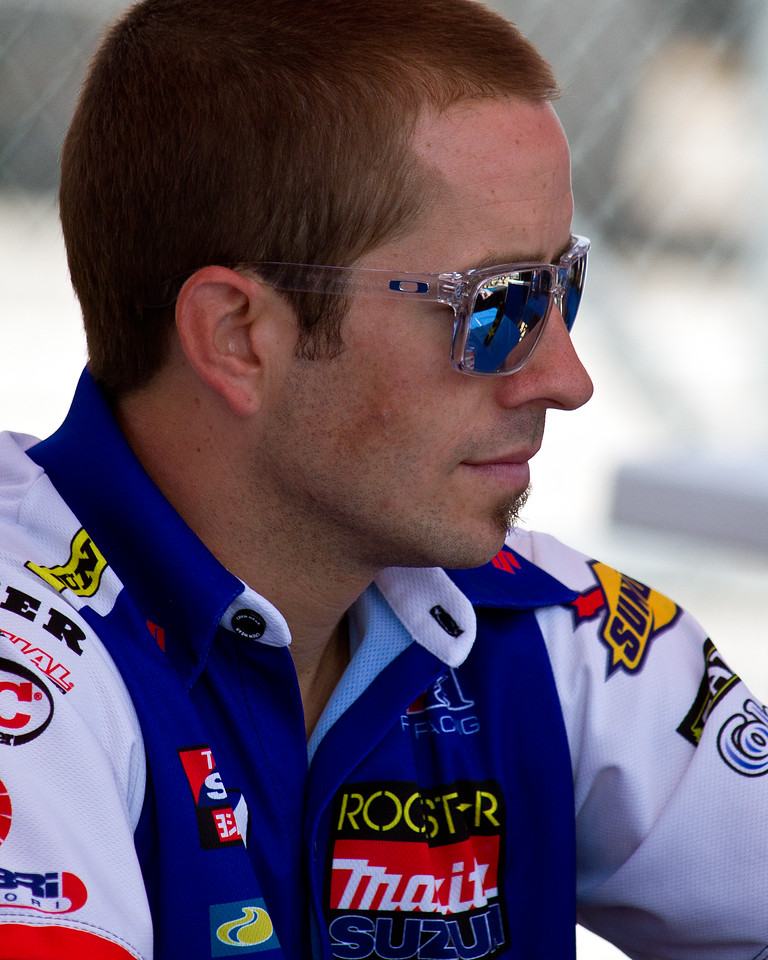 Rockstar Makita Yoshimura Racing AMA SuperBike rider Tommy Hayden prior to race at Barber Motorsports Park.