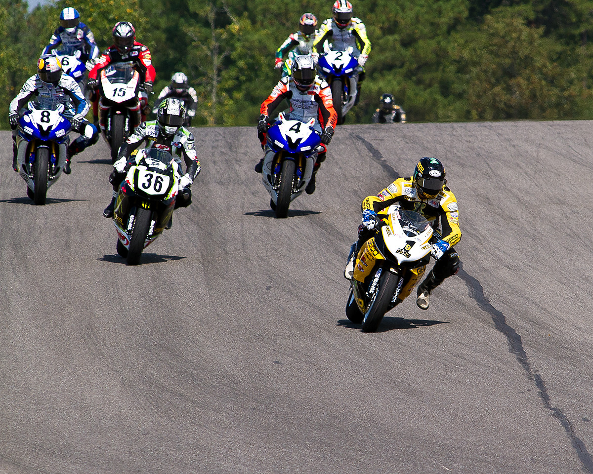 AMA Pro motorcycle racer Danny Eslick leading the pack during the 2010 AMA Championship.