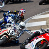 Motorcycle Racer Thomas Puerta leads Corey Alexander and Miles Thornton through a turn during the 2010 AMA Championship at Barber Motorsports Park.