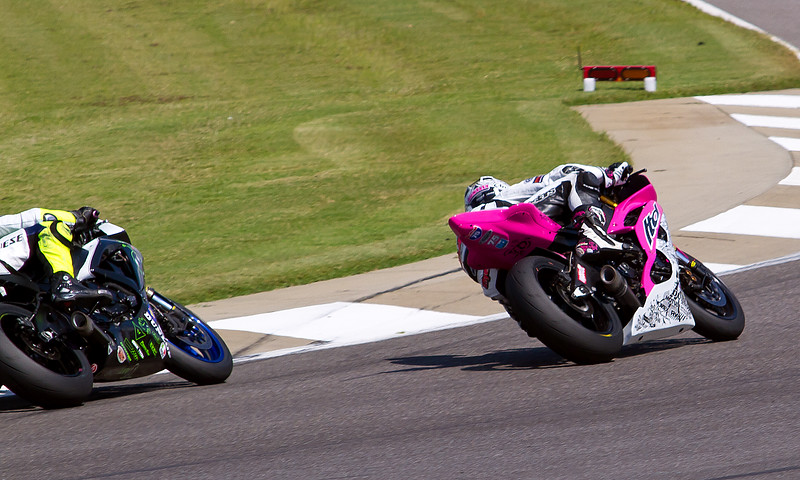 Huntley Nash on his pink (cancer awareness) Yamaha YZF-R6 LTD Racing Machine.