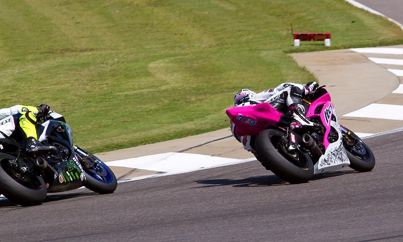 Huntley Nash on his pink (cancer awareness) Yamaha YZF-R6 LTD Racing Machine.