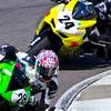 No. 28 Ryan Kerr on his Kawasaki Ninja ZX-6R leads Travis Wyman on his Suzuki GSX-R600
