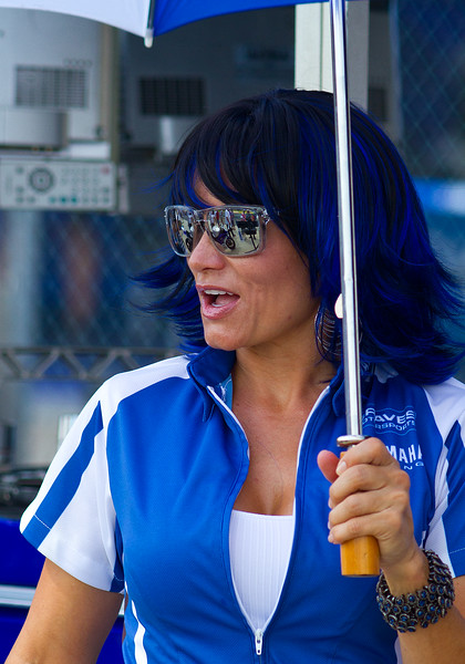 Team Graves Yamaha Girl.  You've got to love the blue hair!