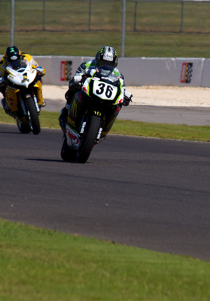 AMA pro motorcycle racer Martin Cardenas leading Danny Eslick at Barber Motorsports Park during 2010 AMA Championship.