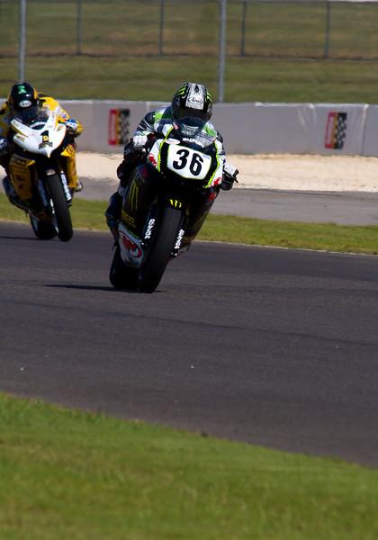 AMA pro motorcycle racer Martin Cardenas leading Danny Eslick at Barber Motorsports Park during 2010 AMA Championship.