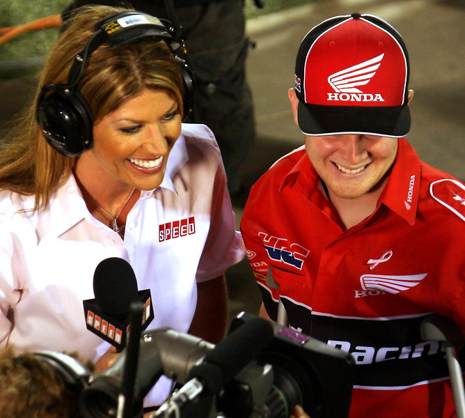 Speed's Erin Bates interviews Trey Canard in Vegas.  Trey was sidelined in Vegas due to a cracked femur; however, prior to his injury he was in the points race.  His great efforts were rewarded with 2011 Rookie of the Year honors.