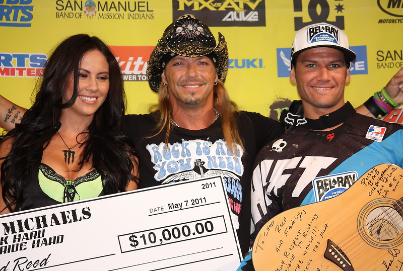 Bret Michaels Rock Hard Ride Hard Award to Chad Reed Las Vegas