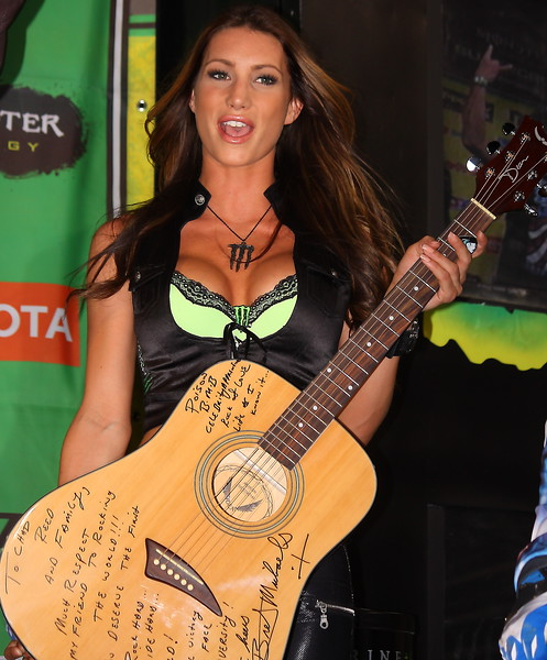 Monster Energy Girl with Bret Michaels and Poison Signed Guitar
