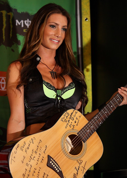 Bret Michaels signed Guitar Monster Energy Girl AMA SX Las Vegas.