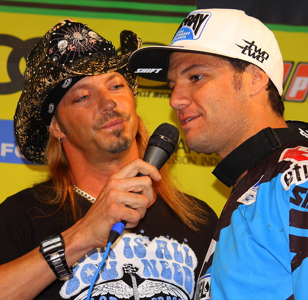 Bret Michaels Chad Reed 2011 AMA SX Las Vegas Rock Hard Ride Hard Winner