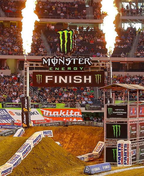 Monster Energy AMA Finish Pre-race Pyrotechnics at Cowboys Stadium