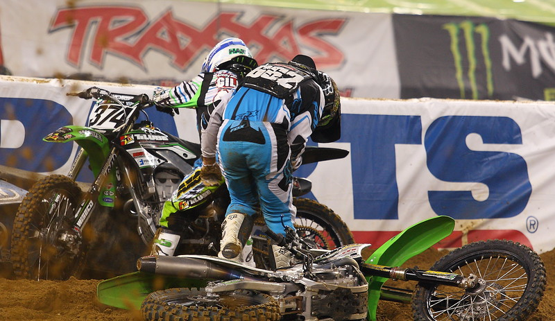 AMA SX Cody Gilmore and Travis Bannister on the Track at Cowboys Stadium 2011
