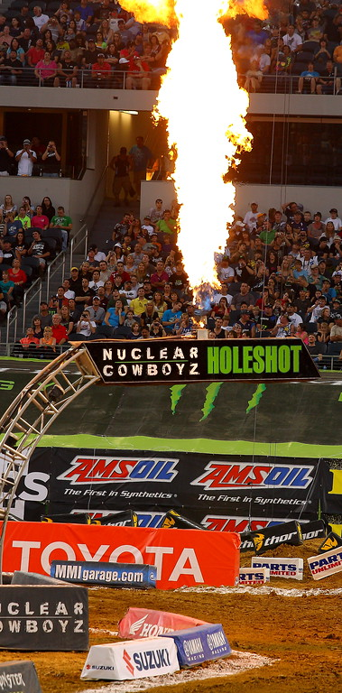 AMA SX Texas Nuclear Cowboyz Holeshot Pre-race Pyro Shoots Flames into Air