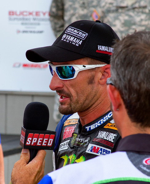 Josh Hayes Victory Lane Interviewed by Speed after SuperBike win