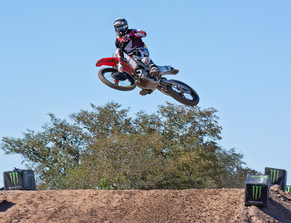 James Bubba Stewart flying high Monster Cup practice